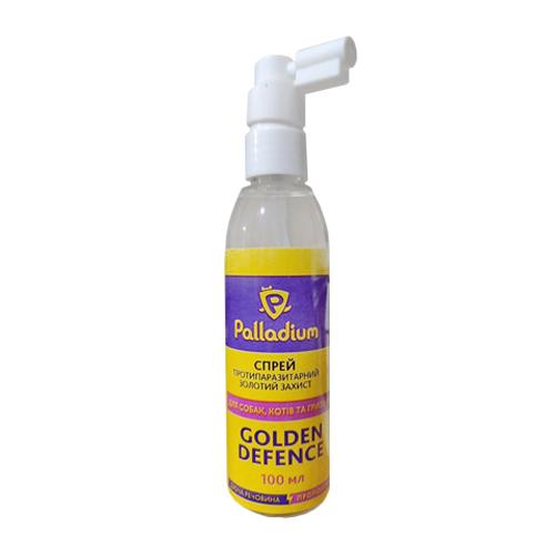 Палладиум Спрей Золотая Защита Антипаразитарный для кошек собак и млекопитающих 100 мл упаковка 16 штук